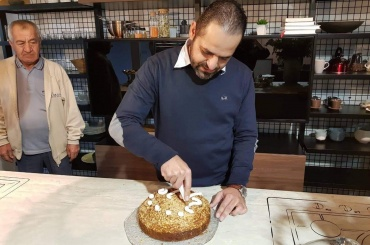 Cutting of the traditional 'vasilopita' New Year's cake with our company staff